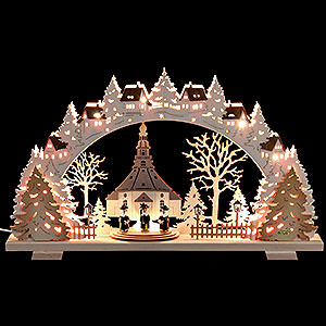Candle Arches Fret Saw Work Candle Arch - Church of Seiffen with Carolers - 53x31x4,5 cm / 21x8x1.8 inch