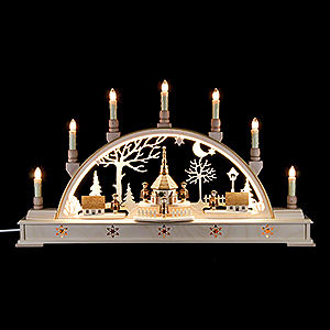Candle Arches Fret Saw Work Candle Arch - 'Church of Seiffen with Carolers' - 63x35 cm / 25.6x13.8 inch
