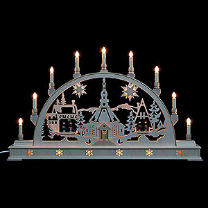 Candle Arches Fret Saw Work Candle Arch - Church with Carol Singers and Base - 78x45 cm / 31x18 inch