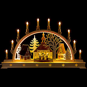 Candle Arches Fret Saw Work Candle Arch - Church with Carolers and LED Interior Lights - 78x45 cm / 30x17 inch