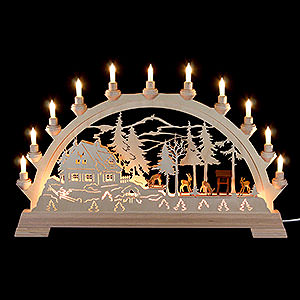 Candle Arches Fret Saw Work Candle Arch - Deer - 65x40 cm / 26x16 inch
