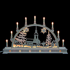 Candle Arches Fret Saw Work Candle Arch - Erzgebirge Landscape with Base - 78x45 cm / 31x18 inch