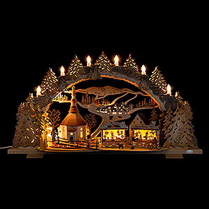 Candle Arches Fret Saw Work Candle Arch - Fair in Seiffen - 72x43 cm / 28.3x16.9 inch