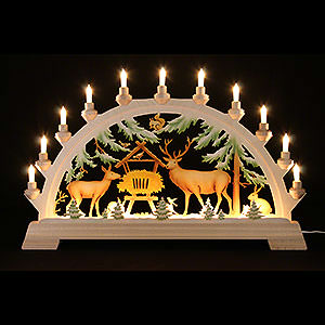 Candle Arches Fret Saw Work Candle Arch - Feeding of the Game, Colored - 65x40 cm / 26x17.5 inch