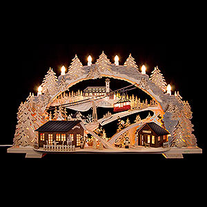 Candle Arches Fret Saw Work Candle Arch - Fichtelberg Idyll - 72x43x15 cm / 28.3x17x5.9 inch
