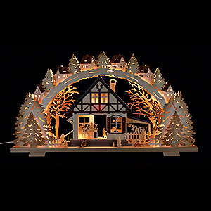 Candle Arches Fret Saw Work Candle Arch - 'Forest Hut' - 72x41x6,5 cm / 28.3x16.1x2.3 inch