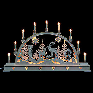 Candle Arches Fret Saw Work Candle Arch - Forest Scene with Base - 78x45 cm / 31x18 inch