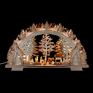 Candle Arches Fret Saw Work Candle Arch - Forest Scenery - 72x41x13 cm / 28.3x16.1x5.1 inch