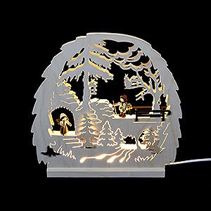 Candle Arches Fret Saw Work Candle Arch - Forest Theme - 30x28.5x4.5 cm / 11.81x11.02x1.57 inch