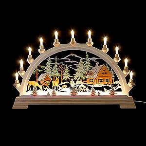 Candle Arches Fret Saw Work Candle Arch - Forester's House, Colored - 65x40 cm / 26x17.5 inch