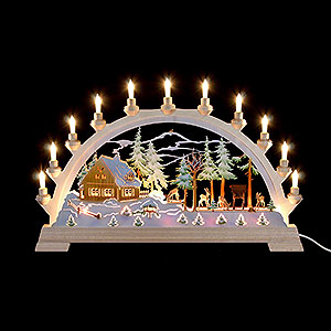 Candle Arches Fret Saw Work Candle Arch - Forester's House with Figures, Colored - 65x40 cm / 26x17.5 inch