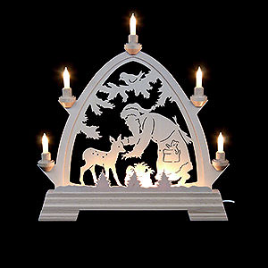 Candle Arches Fret Saw Work Candle Arch - Gotic Santa Claus with Deer 42x42,5 cm / 2 inch