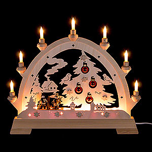 Candle Arches Fret Saw Work Candle Arch - House with House, Skier and Balls - 48 cm / 18.9 inch