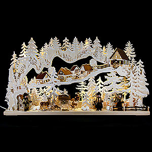 Candle Arches Fret Saw Work Candle Arch - Joy of the Forest with White Frost - 85x45 cm / 33x18 inch
