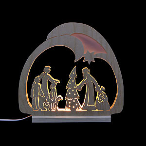 Candle Arches Fret Saw Work Candle Arch - LED- Santa - 30x28,5x4,5 cm / 12x11x2 inch