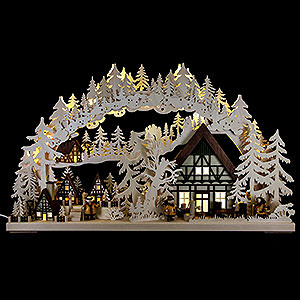 Candle Arches Fret Saw Work Candle Arch - Little Village - 72x43 cm / 28.3x17 inch