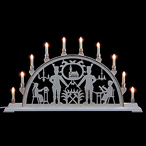 Candle Arches Fret Saw Work Candle Arch - Miner with Church - 78x42 cm / 31x17 inch