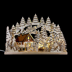 Candle Arches Fret Saw Work Candle Arch - Mountain Cabin Handpainted Brown - 62x39 cm / 24.5x15 inch