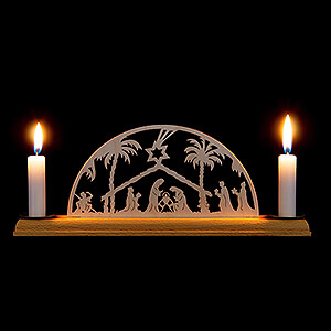 Candle Arches Fret Saw Work Candle Arch - Nativity - 29x8 cm / 11.4x3.1 inch