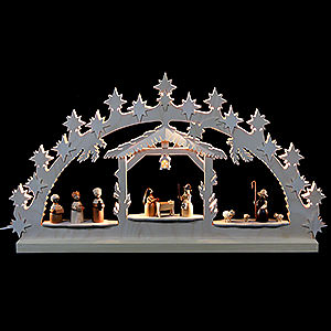 Candle Arches Fret Saw Work Candle Arch - Nativity Scene - 72x40x5,5 cm / 28x16x2 inch