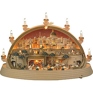 Candle Arches Illuminated inside Candle Arch - Nativity Scene in Bethlehem - Limited Edition - 74x28x58 cm / 29x11x23 inch