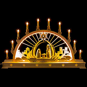 Candle Arches Fret Saw Work Candle Arch - Nativity with LED Interior Lights - 78x45 cm / 30x17 inch