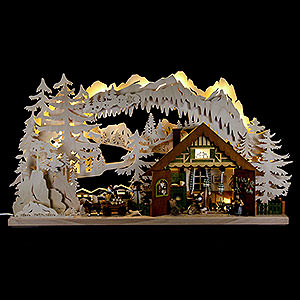Candle Arches Fret Saw Work Candle Arch - Ore Mountain Cabin - 72x43 cm / 28x17 inch