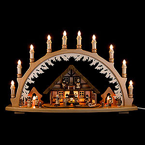 Candle Arches Illuminated inside Candle Arch - Ore Mountain House with Winter Children - 66x43 cm / 26x16.9 inch