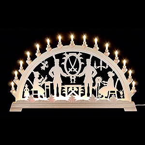 Candle Arches Fret Saw Work Candle Arch - Ore Mountains Motive - 84x49 cm / 33x19 inch