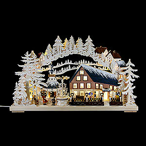 Candle Arches Fret Saw Work Candle Arch - Pyramid House with White Frost - 72x43 cm / 28x17 inch