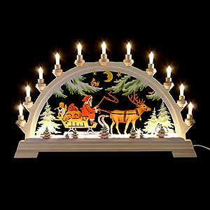 Candle Arches Fret Saw Work Candle Arch - Santa Claus on Sleigh, Colored - 65x40 cm / 26x17.5 inch