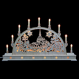 Candle Arches Fret Saw Work Candle Arch - Schneeberg Church with Base - 78x45 cm / 31x18 inch