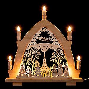 Candle Arches Fret Saw Work Candle Arch - Seiffen Church  - 41x42 cm / 16.1x16.5 inch