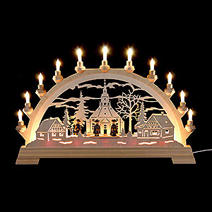 Candle Arches Fret Saw Work Candle Arch - Seiffen Church with Carolers - 65x40 cm / 26x16 inch