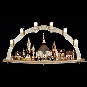 Candle Arches Illuminated inside Candle Arch - Seiffen Church with Village - 31x16 inch - 80x41 cm / 16.1 inch