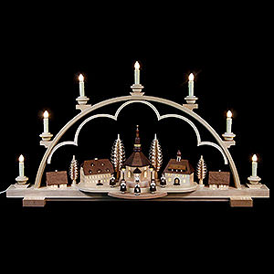 Candle Arches Illuminated inside Candle Arch - Seiffen Village Natural Wood, 120V - 80x15x43 cm / 31.5x6x17 inch