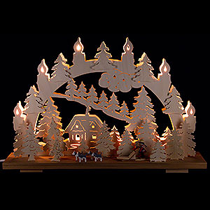 Candle Arches Fret Saw Work Candle Arch - Sled Dogs - 50x31 cm / 19.7x12.2 inch