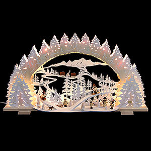 Candle Arches Fret Saw Work Candle Arch - Sledding on Goat Mountain - 72x41x7 cm / 28x16x5 inch