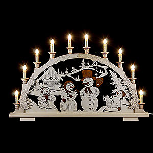 Candle Arches Fret Saw Work Candle Arch - Snow Man Family - 65x45 cm / 25.5x17 inch