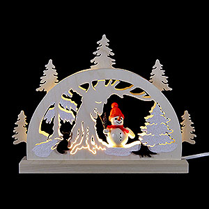 Candle Arches Fret Saw Work Candle Arch - Snowman in the Forest - 23x15x4,5 cm / 9x5.9x1.7 inch