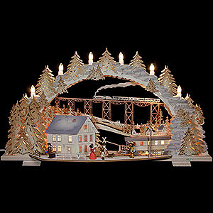 Candle Arches Fret Saw Work Candle Arch - Train Ride in the Ore Mountains (variable) - 72x43x13 cm / 28x16x5 inch