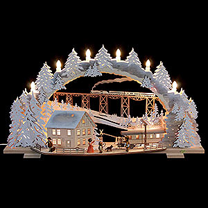 Candle Arches Fret Saw Work Candle Arch - Train Ride in the Ore Mountains with Snow - 72x43x13 cm / 28x16x5 inch