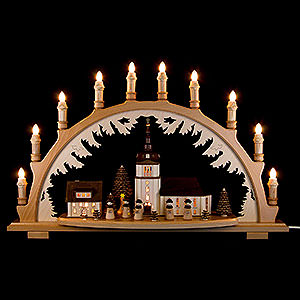 Candle Arches Illuminated inside Candle Arch - Village Church with Carolers - 66x43 cm / 26x16.9 inch