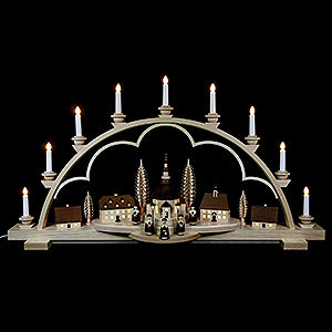 Candle Arches Illuminated inside Candle Arch - Village Seiffen - 102 cm / 40 inch