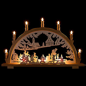 Candle Arches Fret Saw Work Candle Arch - Winter Children - 66x41 cm / 26x16.1 inch