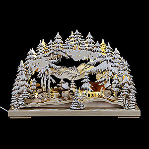 Candle Arches Fret Saw Work Candle Arch - Winter Fun with White Frost - 43x30 cm / 17x11.8 inch