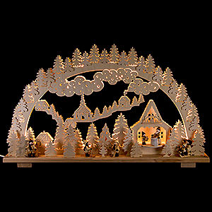 Candle Arches Fret Saw Work Candle Arch - Winter Landscape - 70x45 cm / 28x18 inch