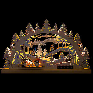 Candle Arches Fret Saw Work Candle Arch - Winter Scene Snowman - 62x33 cm / 24.4x13 inch