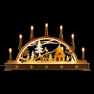 Candle Arches Fret Saw Work Candle Arch Winter Sports with Base - 63x35 cm / 24.8x13.8 inch