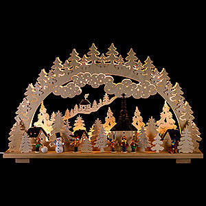 Candle Arches Fret Saw Work Candle Arch - Winter in Seiffen - 70x45 cm / 28x18 inch